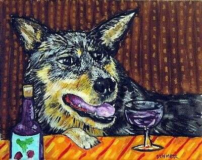 Australian Cattle DOG ART PRINT abstract painting JSCHMETZ wine art gift 8x10