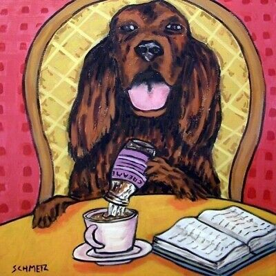 irish setter dog art TILE coaster ceramic gift JSCHMETZ modern folk coffee