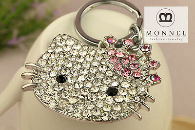 Z623 Cute Bling Bling Hello Kitty Pink Crown Crystal Charm Key Ring Keychain
