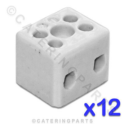 12x CERAMIC HIGH TEMPERATURE ELECTRICAL CONNECTOR BLOCKS 2 POLE 10mm 57A