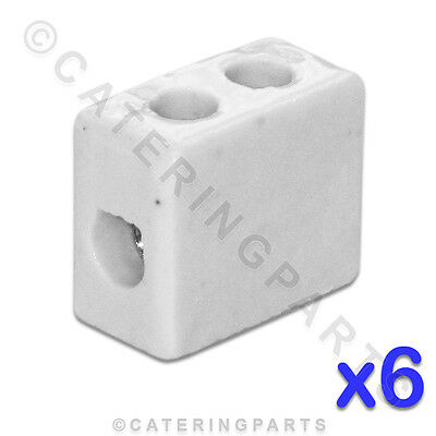6x CERAMIC HIGH TEMPERATURE ELECTRICAL CONNECTOR BLOCKS 1 POLE 6mm 41A