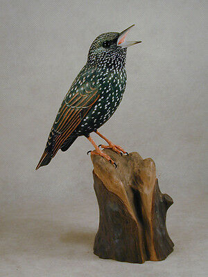 Europeah Starling Original Wood Carving