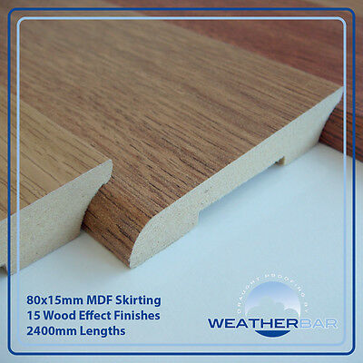 MDF Laminate Skirting & Architrave, 80x15mm, 2400mm Lengths, 5 per Pack (12m)