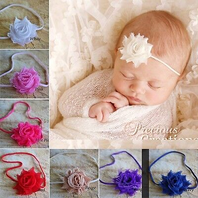 Baby Girl Headband Elastic Petite Mini Shabby Flower Rose Christening Wedding