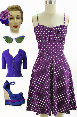 50s Style Dk Purple with White POLKA DOTS ROUCHED Bust Bombshell PINUP Sun Dress