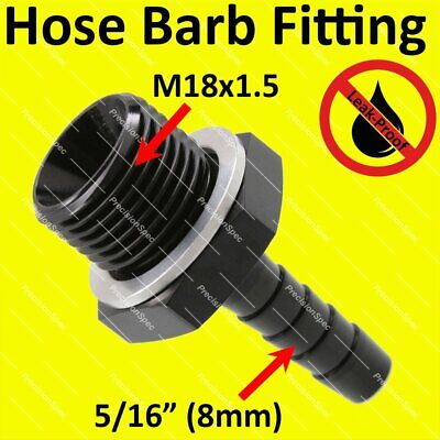 "M18x1.5 to 8mm (5/16"") Barb Fitting For Bosch 044 Fuel Pump Inlet - Black"