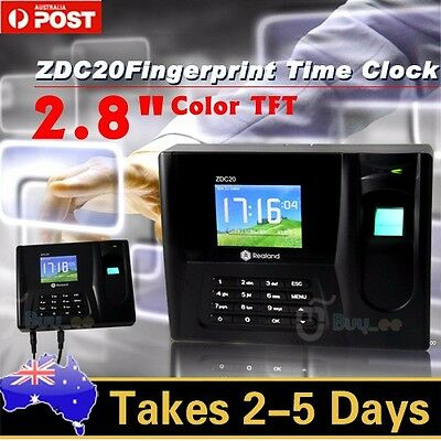 "ZDC20 2.8"" Color TFT Fingerprint Time Attendance Clock Employee Payroll Recorder"