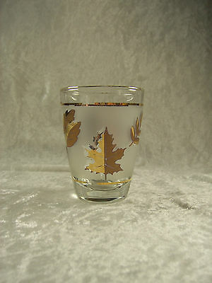 Libbey Golden Foliage Flat Juice Glass Frosted Gold Leaves