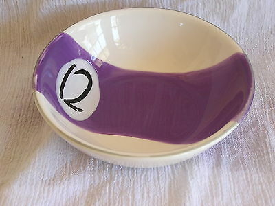 Clay Art Pool Billiard Ball #12 Purple White Stripe Soup Cereal Snack Bowl NICE!