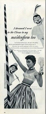 "1953 Maidenform Bra ""I dreamed I went to the Circus"" Womens Underware  PRINT AD"