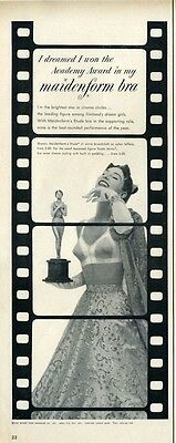 "1953 Maidenform Bra ""I dreamed I won the Academy Award""  Great Decor  PRINT AD"
