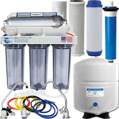 6 Stage Alkaline Reverse Osmosis 100 GPD, All Clear Housings. Choice of Faucets