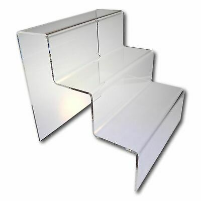 5 3 Step Tier Medium Clear Acrylic Perspex Retail Counter Display Riser Stands