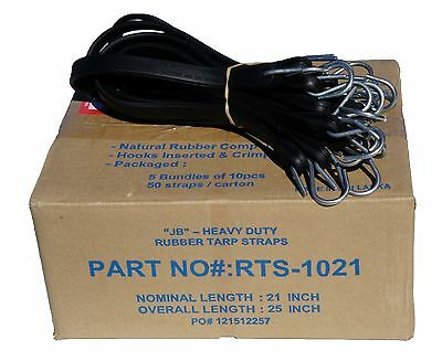 """40 Pack 21"""" JB Heavy Duty NATURAL RUBBER Tarp Straps TARP TIE DOWN Bungee Cords"""