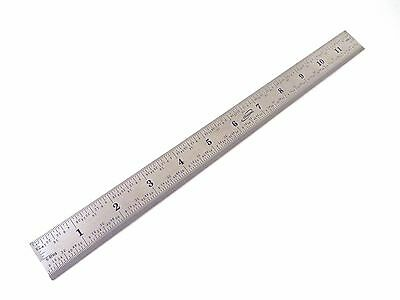 "12"" Stainless Steel Machinist Engineer 4R Ruler/Rule Scale 1/8, 1/16, 1/32/ 1/64"