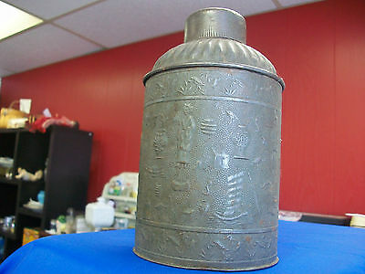 Vintage tin tea canister Mid to late 1800's