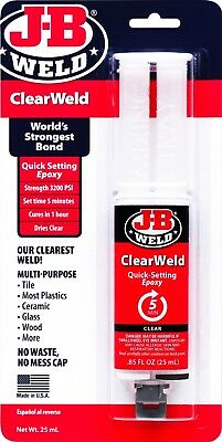 J-B Weld ClearWeld Quick Setting CLEAR Epoxy glass jewelry GLUE Adhesive 50112