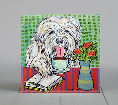 COFFEE art with OLD english sheepdog print on ceramic tile coaster gift JSCHMETZ