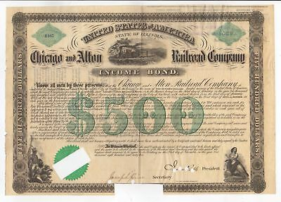1862 Chicago and Alton Railroad Company Income Bond - Samuel Tilden