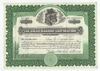 The Cigar Machine Corporation Stock Certificate