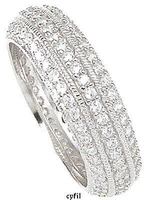 925 Sterling Silver Pave 3 Row CZ Eternity Wedding Band Ring Sz 5 6 7 8 9
