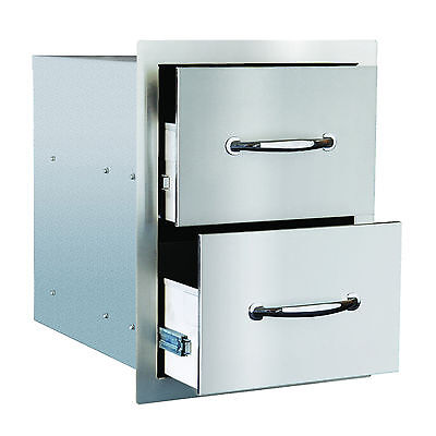 """STG Excalibur Standard 14"""" Stainless Steel Double Access Drawers Model# STGS-DD"""
