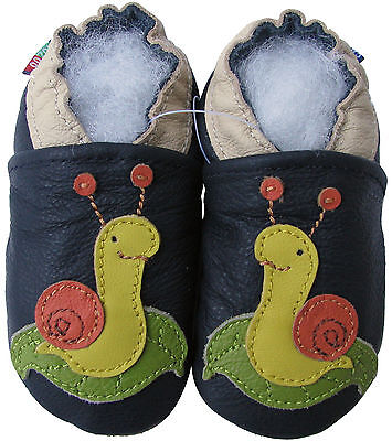 carozoo snail dark blue 6-12m new soft sole leather baby shoes