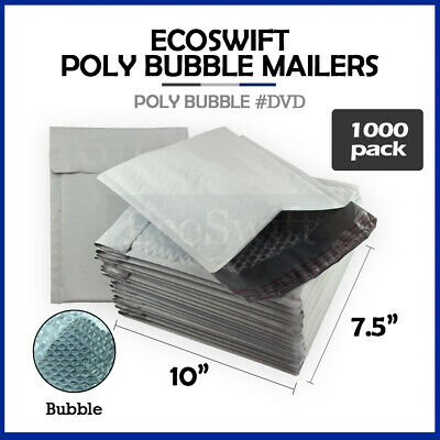 1000 #0 7.5 x 10 Poly Bubble Mailers Padded Envelope Shipping Supply Bags DVD