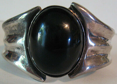 Striking Signed Mexico Vintage Sterling Silver Onyx Cuff Bracelet