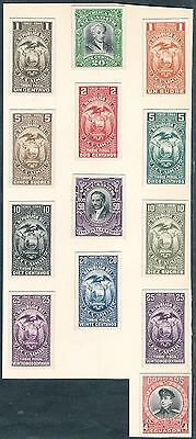 ECUADOR (13) DIFFERENT ABNCo. XF-SUPERB (EX-GREEN) PLATE PROOFS ON INDIA HV5420