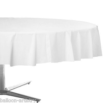 """84"""" White Round Plastic Tablecover Table Cover Cloth Wedding Catering"""