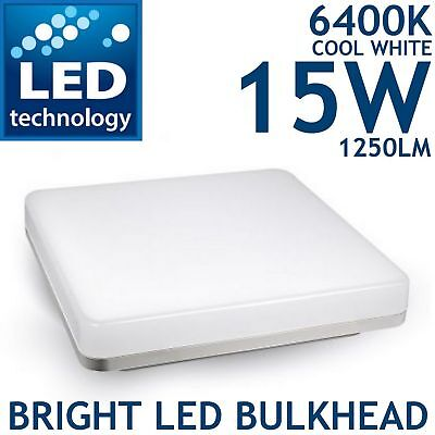 LED 15W 2D Integrated Ceiling Light IP65 Internal External Lamp Frosted Bulkhead