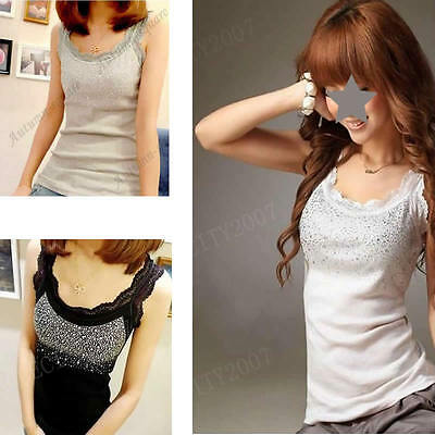 New Fashion Women Elegant Lace Collar Bling Tank Tops Vest Sleeveless T-shirt