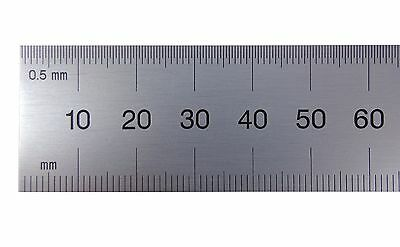 PEC USA 300mm Rigid Satin Metric Machinist Rule /Rule Scale .5mm & mm both sides