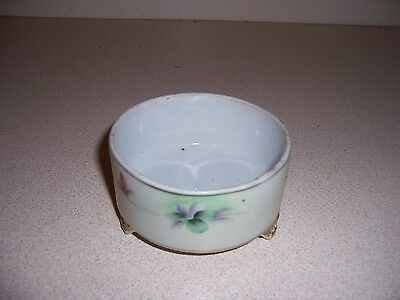 ANTIQUE VTG HAND-PAINTED NIPPON CHINA FOOTED JAR no LID