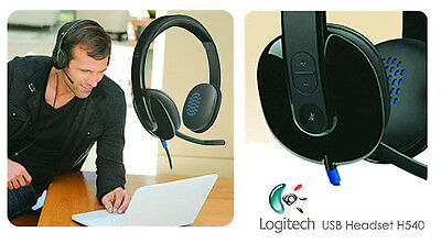 38bc8cf0437 Logitech H540 981-000510 USB Headset for PC Calls and Music Black Noise  Cancel