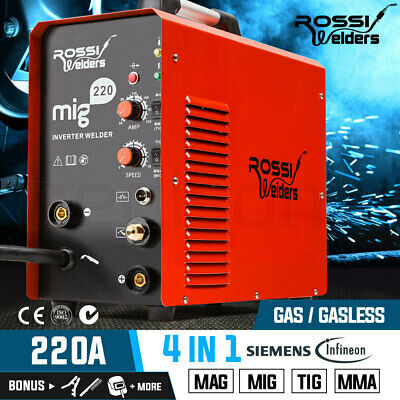 NEW ROSSI MIG MAG TIG MMA ARC Welder Gas Gasless Inverter 220Amp Wire Portable