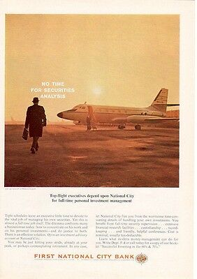 1964 First National City Bank Boarding Private Jet at Newark Airport PRINT AD