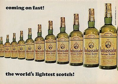 1964 Ambassador Deluxe Scotch Vintage Bottle World's Lightest Scotch PRINT AD