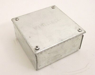 Galvanised Adaptable Steel Box Electrical Cable Enclosure 100x100x50mm = 4x4x2""