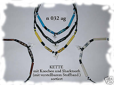 5 MIX COLOUR BLUE BLACK WHITE BROWN YELLOW SURFER SHARK TOOTH NECKLACES / n135de