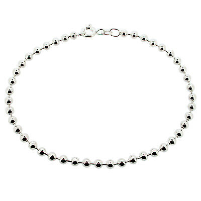 Ladies 925 Solid Sterling Silver Bead Ball Bracelet Various Sizes Lengths