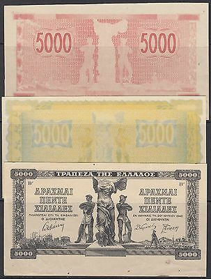 Bank Of Greece #119 1942 Inflation Issue Progressive Proofs Hv5484
