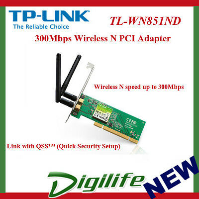TP-Link TL-WN851ND 300M Wireless N PCI Adapter Atheros 2T2R 2.4GHz 802.11g/b