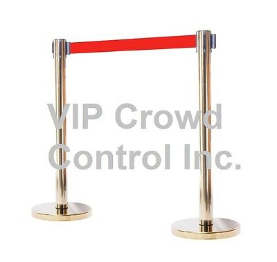 "Stanchion, 2Pcs Set, 40"" Gold Polish S.s With 14"" Flat Base And 78"" Red Belt"