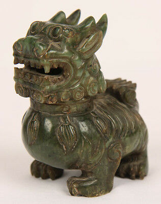 ANTIQUE CHINESE QING DYNASTY GREEN JADEITE JADE FOO LION SCHOLARS SCROLL WEIGHT