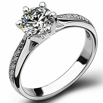 Size 5-10 925 Solid Sterling Silver Ring Cubic Zirconia Wedding Halo Engagement