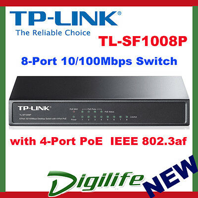 TP-LINK TL-SF1008P 8-port 10/100M PoE Switch, 8x10/100M with 4-Port PoE