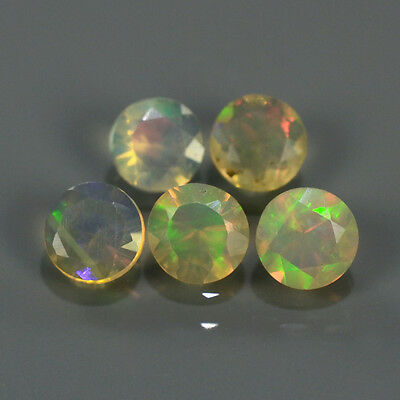 """Natural 5pcs 0.77ct Lot Round Red-Orange & Rainbow """"Play Of Colour"""" OPAL #295229"""