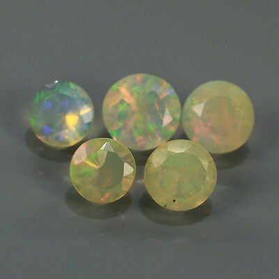 """Natural 5pcs 0.62ct Lot Round Red-Orange & Rainbow """"Play Of Colour"""" OPAL #295227"""